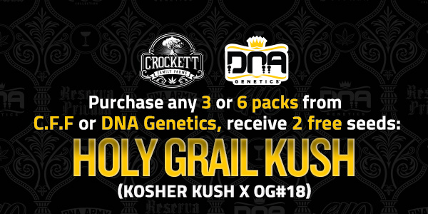 Purchase any 3 or 6 packs from DNA or CFF receive free HGK seeds