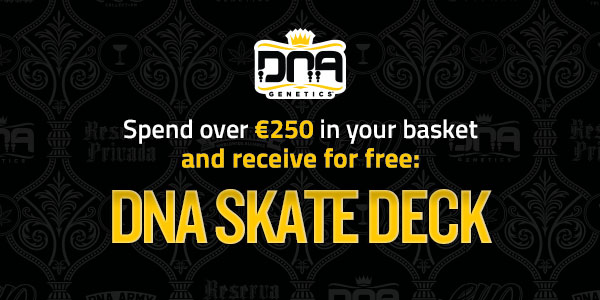 Spend over 250 euros on seeds and receive free DNA Genetics skate deck